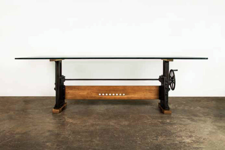 94 glass top conference table with cast iron crank wheel for Cast iron table with glass top