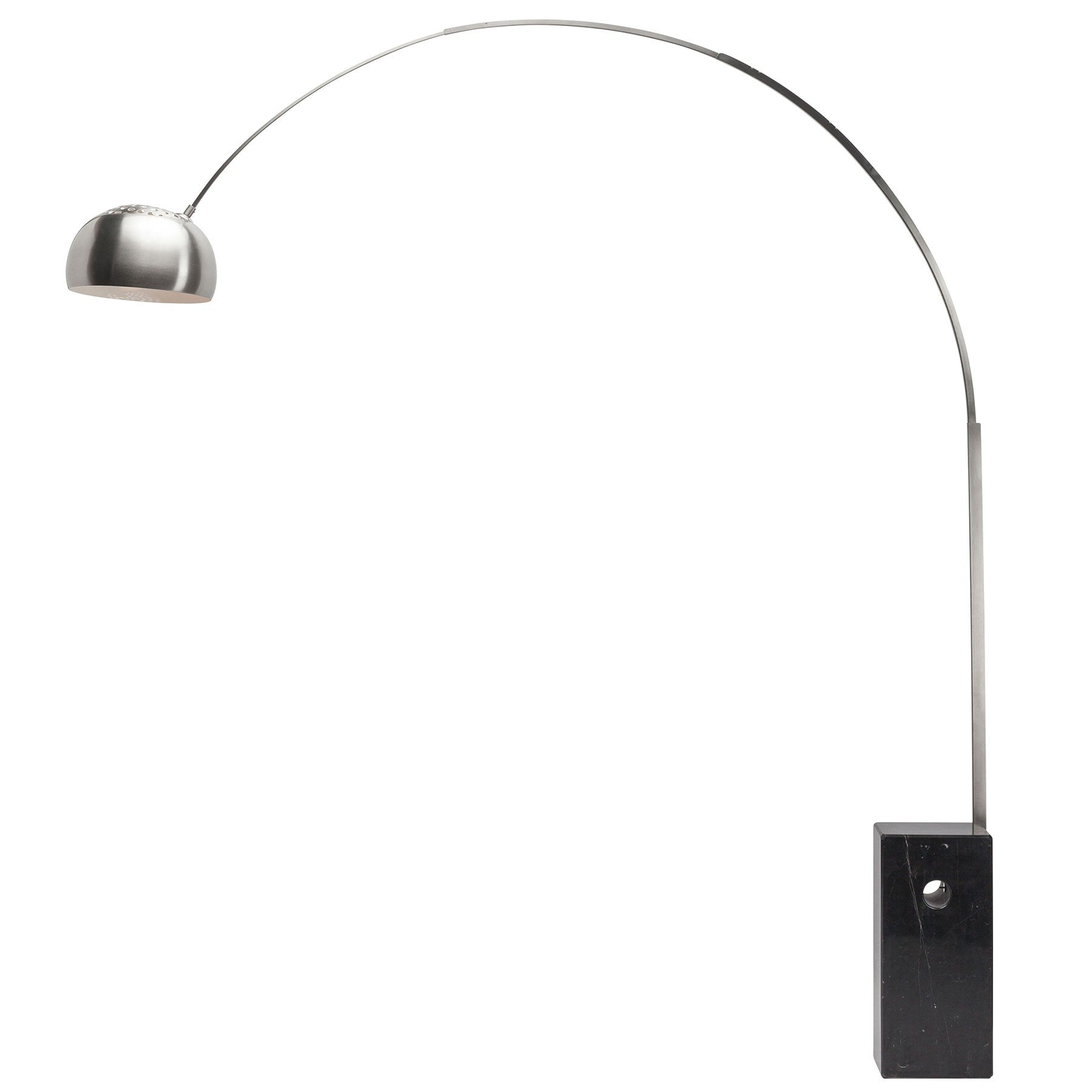 Curved floor lamp Mid Century Curved Floor Lamp In Brushed Stainless Steel With Black Base Officedeskcom Officedeskcom Curved Floor Lamp In Brushed Stainless Steel With Black Base