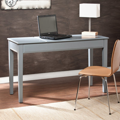 "Sleek Gray 50"" Office Desk with Dual Lift-Up Storage Compartments"