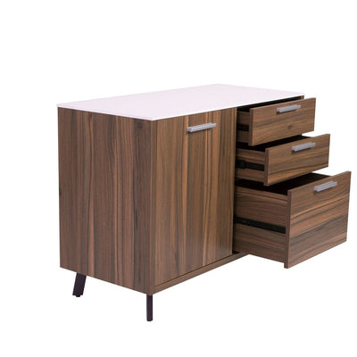 "63"" White & Walnut Modern Desk with Drawer"