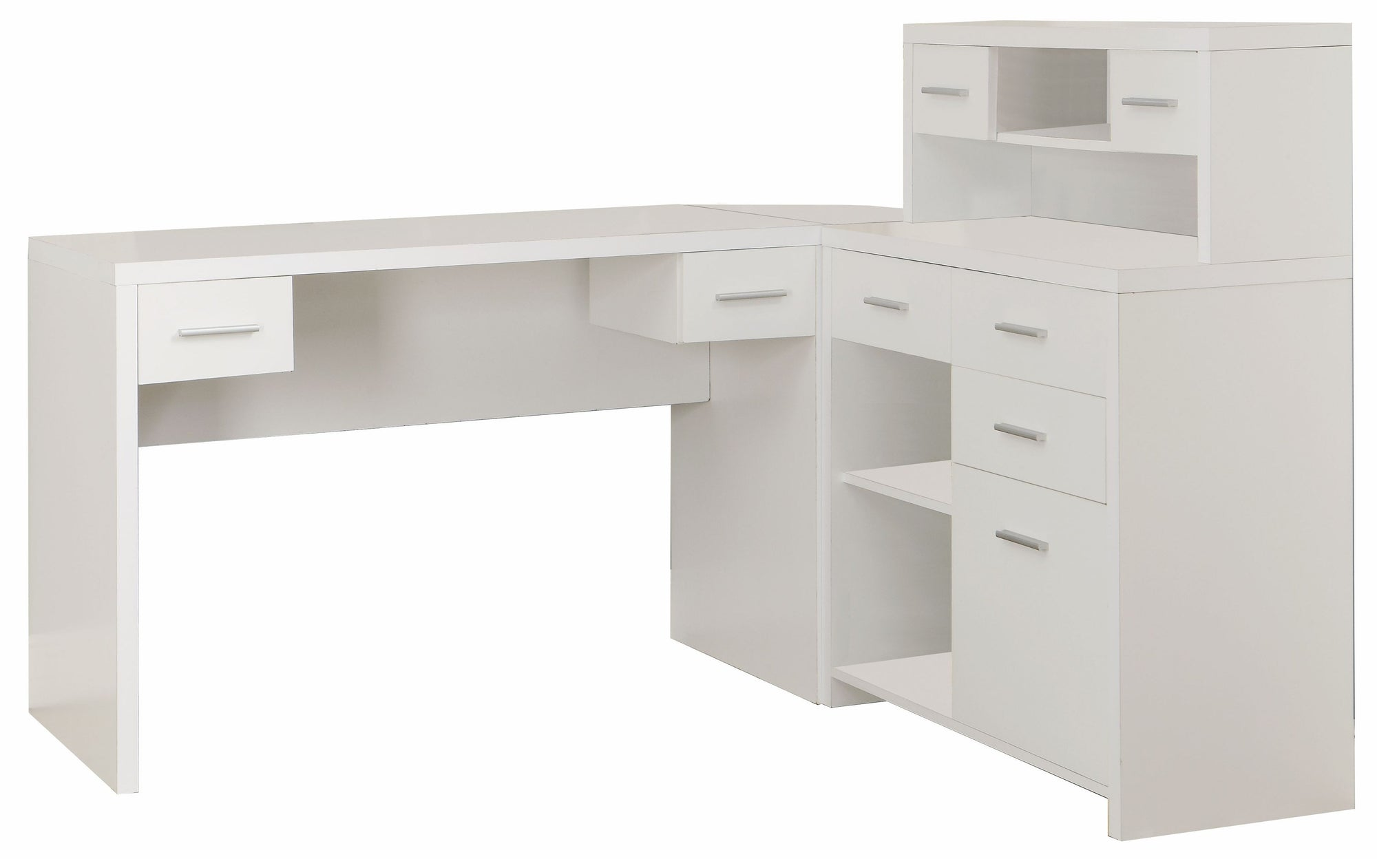 Sleek White Finished L-shaped Corner Office Desk with ...