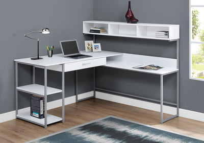 "59"" L-Shaped Corner Desk in White & Silver Metal"