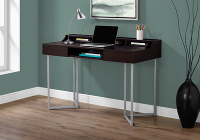 "Cappuccino 48"" Office Desk w/ Silver Metal Base"
