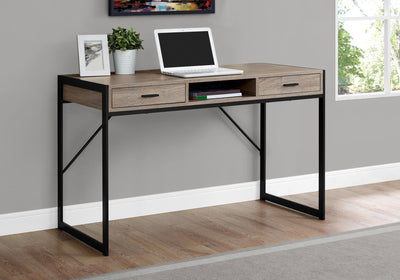 Classic Taupe & Black Metal Office Desk