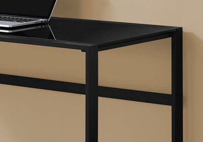 Rectangular Black Metal Computer Desk w/ Tempered Glass