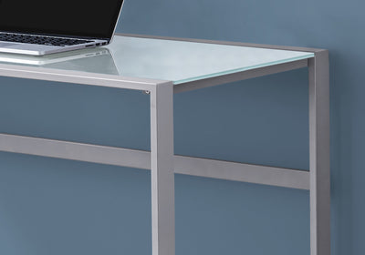 "Rectangular 48"" Silver Metal Computer Desk w/ White Tempered Glass"