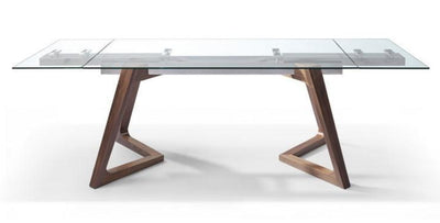 "Modern Extending Glass Conference Table w/ Angled Walnut Legs (63"" W to 95"" W)"
