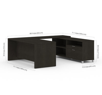 Modern U-shaped Desk with Built-in Storage in Deep Gray Finish