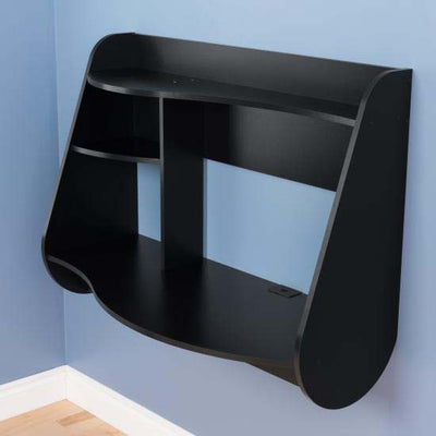 "Modern 42"" Wide Black Floating Desk"