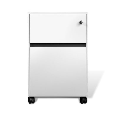 Modern White Lacquer Mobile File Cabinet with Premium Casters