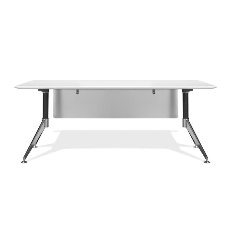 "Modern White Lacquer 71"" Executive Office Desk with Chrome Base"