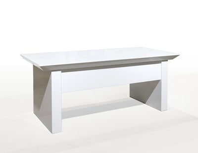 "Premium White Lacquer 75"" Height Adjustable Executive Desk"