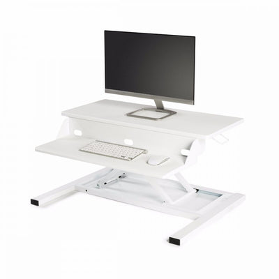 Sleek White Desk Riser w/ Pneumatic Lift
