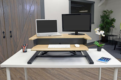 Wood Veneer Desk Riser w/ Pneumatic Lift