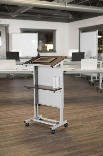 White Rolling Lectern or Workstation w/ Adjustable Height