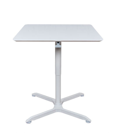 "Classic 31"" Square White Meeting Table w/ Pneumatic Lift"