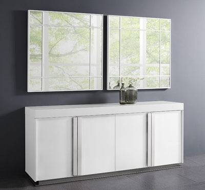 "Gorgeous 78"" High-Gloss White Storage Credenza"