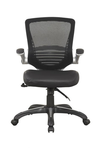 Rolling Office Chair in Black Mesh & Leatherette
