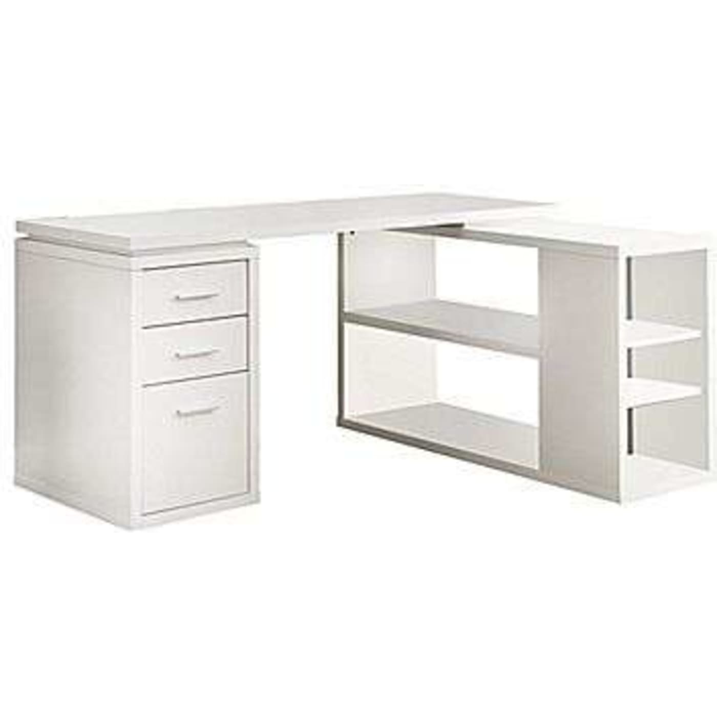 Charmant White Corner L Shaped Office Desk With Drawers U0026 Shelving