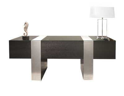Premium Modern Executive Desk In Wenge U0026 Brushed Aluminum Laminate