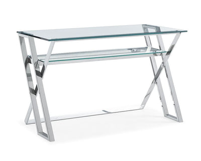 "Eye-Catching 47"" Glass-Top and Stainless Steel Office Desk"