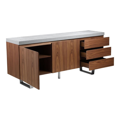 Light Grey and Walnut Storage Credenza with Brushed Stainless Steel Legs