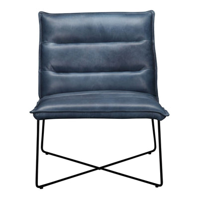 Dark Blue Leather Guest or Conference Chair with Iron Base