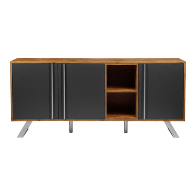 "71"" Wood Storage Credenza with Grey Vinyl Doors and Brushed Stainless Steel Legs"
