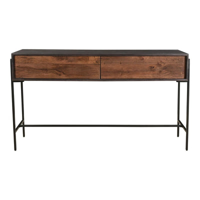 "54"" Narrow Mango Wood Desk or Workstation with Iron Base"