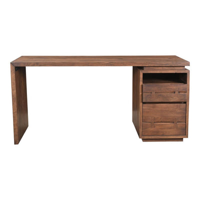 "Modern 64"" Brown Acacia Desk with Storage Drawers"
