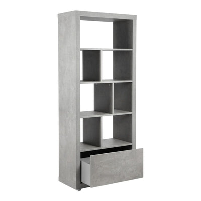 Light Grey Faux-Stone Bookcase or Room Divider with Additional Storage Drawer