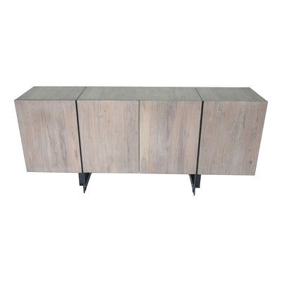 "Modern Pale Grey Acacia and Iron 64"" Storage Credenza"
