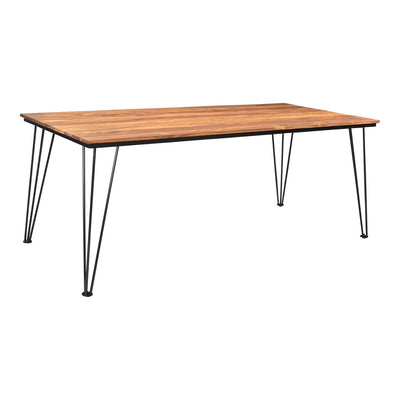 "79"" Teak Wood Executive Desk or Meeting Table with Stainless Steel Legs"