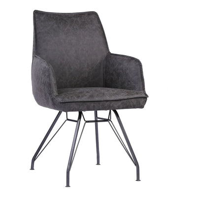 Vintage Dark Grey Guest or Conference Armchair