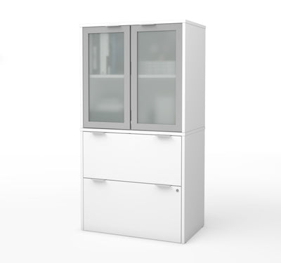 Premium White File Cabinet & Storage Hutch with Frosted Glass Doors