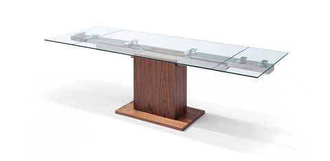 "Walnut Conference Table or Executive Desk with Glass Top (Extends from 63"" to 95"" W)"