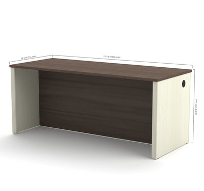 "71"" Executive Desk in White Chocolate & Antigua Finish"