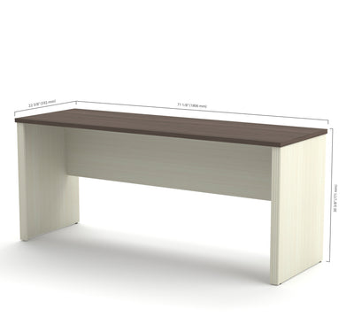 "71"" Narrow Executive Desk in Modern White Chocolate & Antigua"