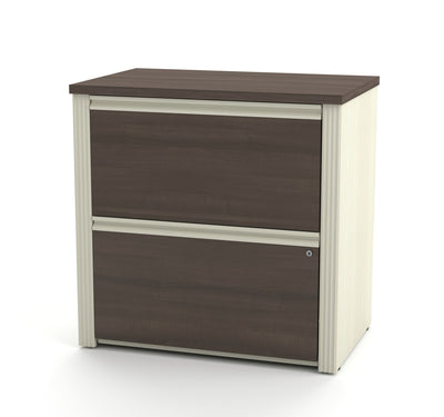 Premium Corner Office Desk in White Chocolate & Antigua Finish