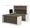 U-shaped Desk with Hutch in White Chocolate & Antigua