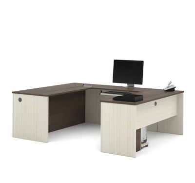 White Chocolate & Antigua Premium U-shaped Desk