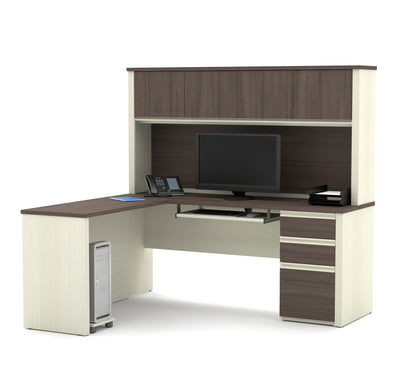 L-shaped Desk with Hutch in Modern White Chocolate & Antigua