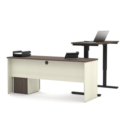 White & Antigua Single Ped Desk with Included Height Adjustable Desk