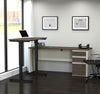 "White & Antigua Single Ped Desk & 48"" Height-Adjustable Desk"