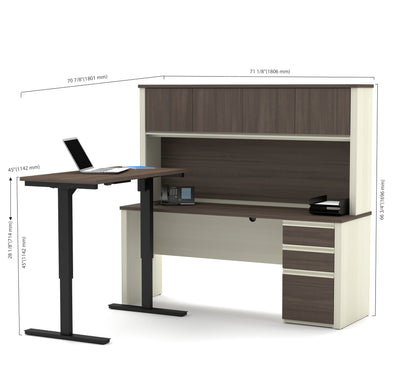 White U0026 Antigua Desk / Hutch With Included Height Adjustable Desk