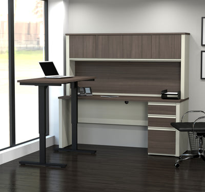White & Antigua Desk / Hutch with Included Height Adjustable Desk