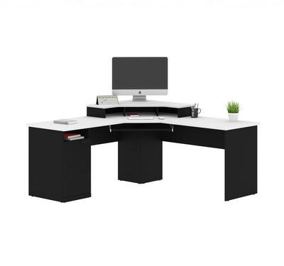 Hampton Collection Corner Workstation in White & Charcoal