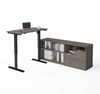 Bark Grey Office Desk with Adjustable Height with Credenza
