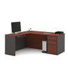 Bordeaux & Graphite Premium Single-Pedestal L-shaped Desk