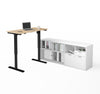 "48"" Northern Maple Sit-Stand Desk with White Credenza"
